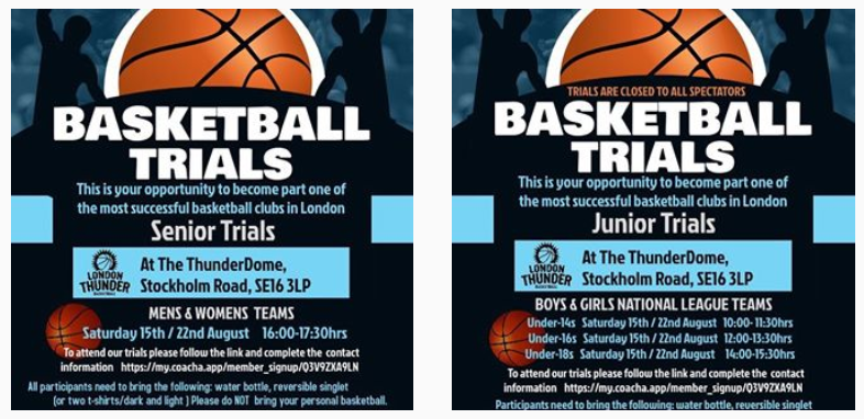 London Basketball trials