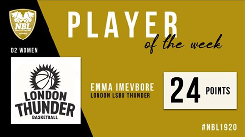 Emma Imevbore Division 2 Player of the Week Basketball England