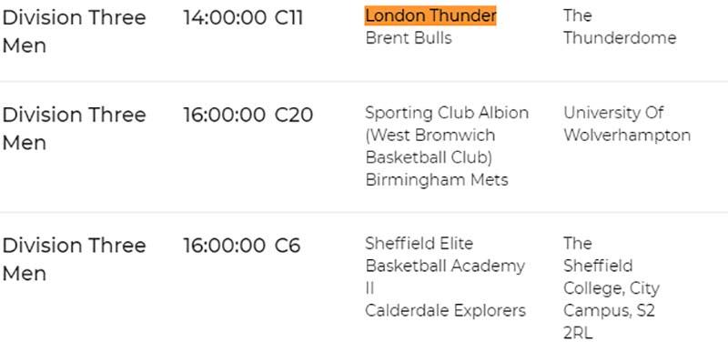 London Thunder Fixtures 2021 2022